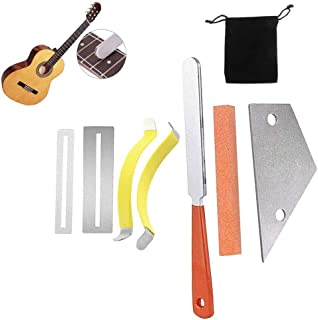 Activists Guitar Luthier Tool 1 Guitar Fret File, 1 Fret Rocker Tool, 2 Metal String Spreaders, 2 Fingerboard Guards Protectors and Grinding Stone for Guitar Bass