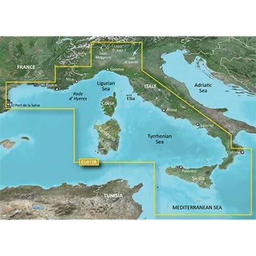 Garmin BlueChart g3 Seekarte Region Europa, Abdeckungsbereich HXEU012R - Mittelmeer Zentral-West, Kartengröße Regular