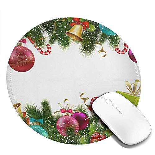 Mini Mouse Pad Round Merry Christmas Xmas Trees Ball Computer Mouse Pads Laptop Mousepad Circle Small Cute Personalized Gaming Mouse Mat for Women Kids Girls Boys Men Non Slip 7.9 X 7.9