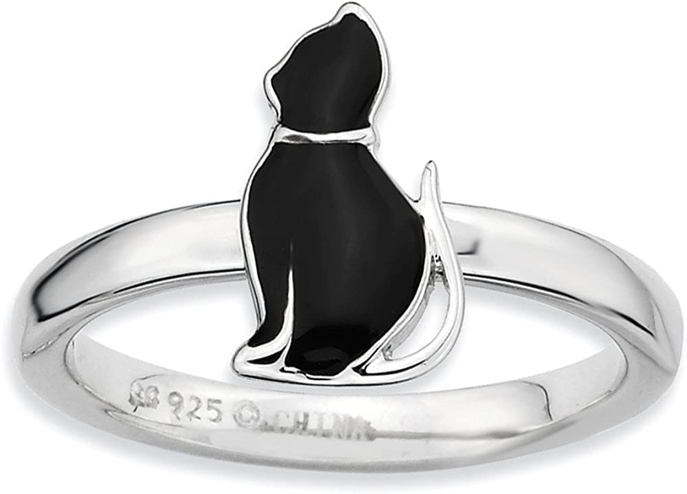 Max 66% OFF Sterling Nippon regular agency Silver Stackable Black Enameled Ring Side Kitty