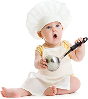 M&G House Unisex Baby Chef Costume Newborn Photography Prop Baby Uniform Photo Props Chef Outfit Apron + Chef Hat (Fits 0-...