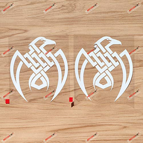 Odin Raven Decal Sticker Vinyl Viking Norse Nord Celtic Knot - 2 Pack White, 6 Inches - for Car Boat Laptop No Background 02031A