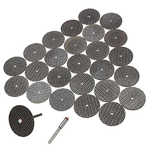 TOOGOO(R) 25pzs juego de disco de corte de cuchillas 32mm con eje para herramienta giratoria