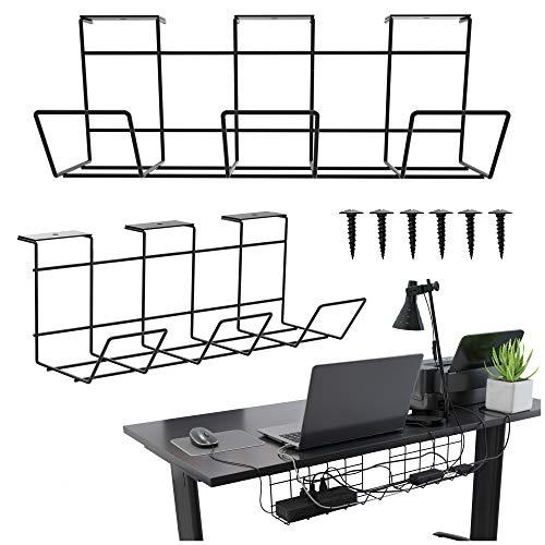 Scandinavian Hub Schreibtisch Kabelkanal – Kabelhalter für Kabelordnung. Metallene Kabelbox für Büro und Zuhause (Schwarz – Set von 2X 30cm)