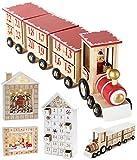 Brubaker Calendario dell'avvento Riutilizzabile in Legno da riempire - Locomotiva Rossa con 24 Porte - Calendario Natalizio Fai da Te 47,5 x 9,5 x 14 cm