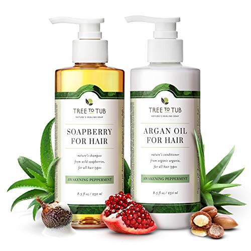 Peppermint Sulfate Free Shampoo and Conditioner by Tree to Tub - Best Shampoo and Conditioner for Sensitive, Oily Hair and Scalp.The Only pH 5.5 Balanced Duo Using Wild Soapberry & Organic Argan Oil