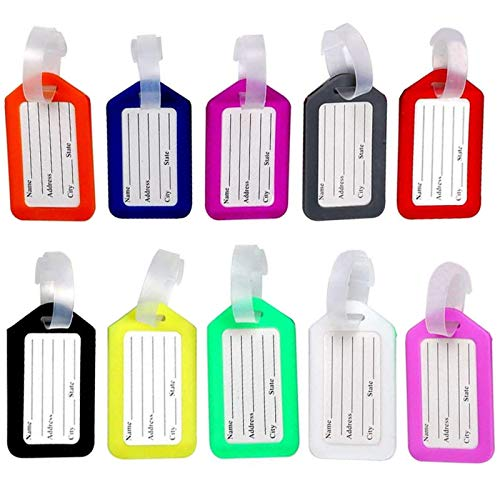 Maydahui 10PCS Multicolor Luggage Tags Plastic Suitcase Tag Durable Travel Bags Labels Baggage Bag Name