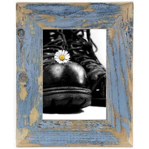 Mein Landhaus Bilderrahmen aus echtem Alt-Holz Stil Vintage, rustikal - handgefertigte Unikate in hellblau 10X15