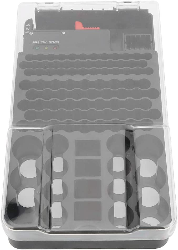 Batteries Storage Box, Multi-Functional 104 Grids 3 Lights Battery Storage Case/Holder/Container with Battery Tester, Battery Organizer Storage Case