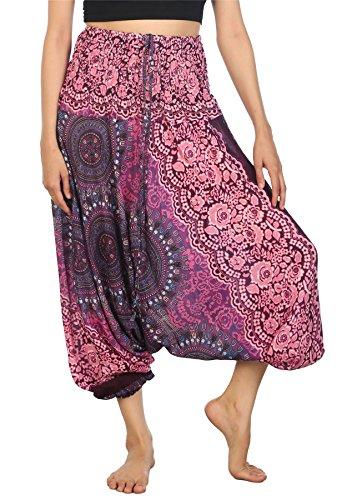 Lofbaz Damen 2 in 1 Haremshose Jumpsuit Rosenmuster Violett 2XL