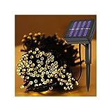 Guirnaldas Luminosas Luces Solares De Cadena,Luz Cálida LED Impermeable Al Aire Libre,Balcón Terraza Jardín Taberna Pérgola,8 Modos(Size:6.5m)