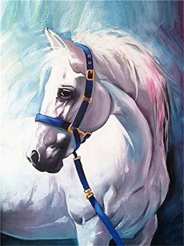 Cuadro de diamantes 5d Animal taladro completo redondo bordado de diamantes caballo decoraciones de otoño para el hogar A7 30x40cm