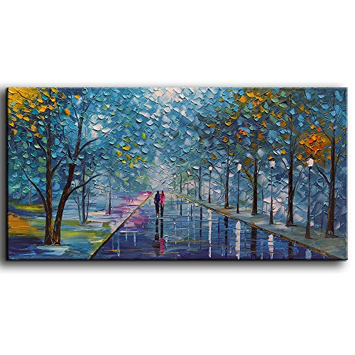 YaSheng Art -Contemporary Landscape Abstract Oil Painting On Canvas Textured Tree Painting Abstract Art Wall Paintings Handmade 3D Painting Home Office Decorations Canvas Wall Art Painting 24x48inch