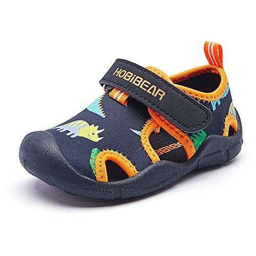 [シンピンウェイ] サンダル キッズ ビーチ スポーツ サンダル ベビー マリンシューズ 男の子 女の子 アウトドア 子供 靴 つま先保護 滑り止め 通気性 屈曲性 ブラック 14.9cm