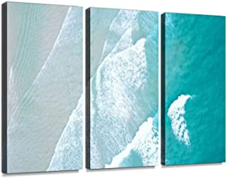 Turquoise Blue Ocean Water White wash Crashing on Shoreline Sand Beach Drone Aerial from Above Print On Canvas Wall Artwork Modern Photography Home Decor Unique Pattern Stretched and Framed 3 Piece