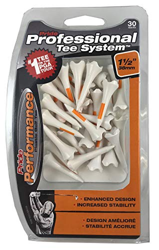 Pride Performance Professional Tee System Plastic Golf Tees (Pack of 30), 1 1 2-Inch