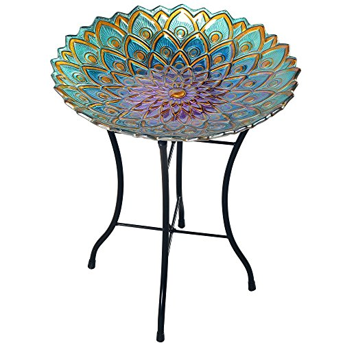 Peaktop 3014051 Birdbath Bowl Fountain Handpainted Mosaic Flower Fusion Glass Pedestal Bird Bath for Outdoor Patio Garden Backyard Decking Décor, 21 inch Height, Blue and Purple, 21.2'