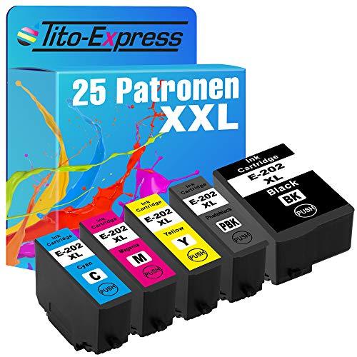 Tito-Express PlatinumSerie 25 Patronen XXL kompatibel mit Epson 202XL 202 XL   Geeignet für Epson Expression Premium XP-6000 XP-6005 XP-6100 XP-6105   Black je 16ml, Color je 10ml XXL-Inhalt