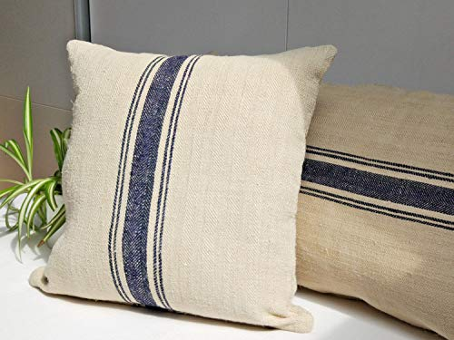 DKISEE Handmade Grain Sack Throw Pillow Cover Cotton Linen Decorative Pillow Case Cushion with Navy Blue Stripes 18'x18'