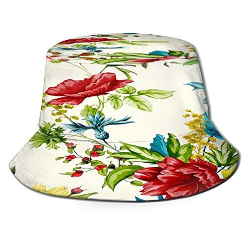 Yoliveya Angelhut Fischerhut,Blumen Mohn Wild Roses Cornflower Mit Pfingstrose Und Blätter Auf Weiß,Bonie Safari Sonnenhüte zum Wandern im Freien für Männer und...