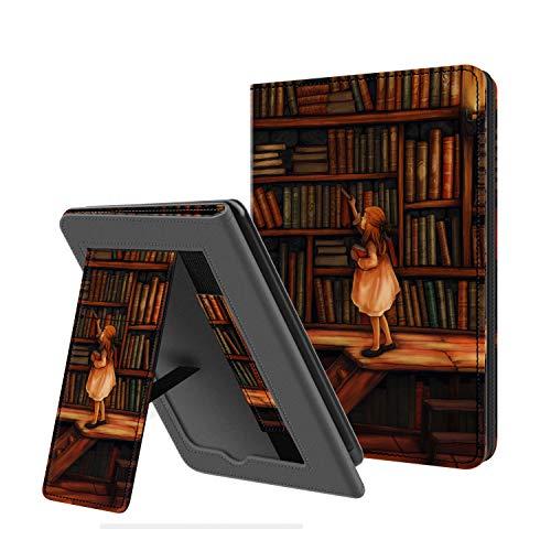 Estuche Plegable OLAIKE Solo para Kindle Paperwhite 10th Generation 2018 lanzado - con activación/suspensión automática, Funda de Cuero PU con Correa de Mano, La Biblioteca