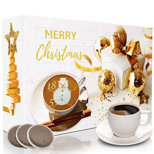 C&T Coffee Advent Calendar 2020 'Classic II' (oro, cápsulas de café) | 24 cápsulas compatibles con Senseo de todo el mundo | Calendario de Navidad con folleto informativo gratuito
