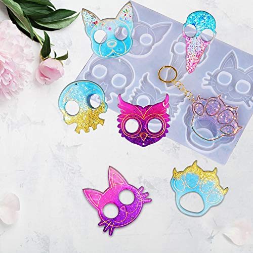 Sgokuno Keychain Resin Mold, Portable Keychain Epoxy Resin Casting Mold Silicone Mould Jewelry Mould for Resin Epoxy,Perfect for Anti-Wolf Ninja Weapons Portable for Women, Girls and Ladies