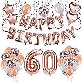HOWAF Oro Rosa 60 Anni Compleanno Decorazioni per Donna, 59 Pezzi Palloncini Oro Rosa Festone di Palloncini Compleanno Palloncini in Lattice coriandoli Palloncini e Pendenti a Spirale