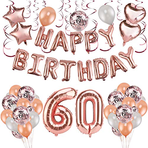 HOWAF Rose Gold 60. Geburtstag deko für Frau und Männ, 59 Stück Happy Birthday Girlande Banner Luftballons Set Helium Folie Herz Ballon für 60 Geburtstag Dekoration