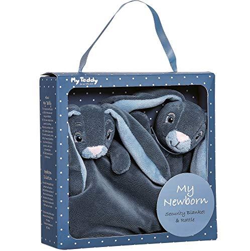 My Teddy Coffret cadeau pour bébé et hochet Bleu/bleu clair