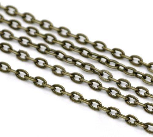 SiAura Material ® - 10m Bronzefarben Gliederkette 3x2mm Schmuckkette