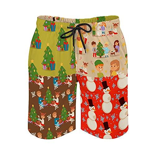 Pantalones cortos de playa para hombre, Navidad para niños, personaje jugando al invierno, secado rápido, traje de baño casual hawaiano, trajes de baño con elástico