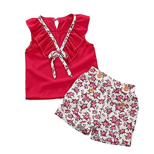 sunnymi Conjunto de ropa para niños de 1 a 5 años y niñas de verano, sin mangas, con lazo, con estampado floral y pantalones cortos. rojo 1-2 Años