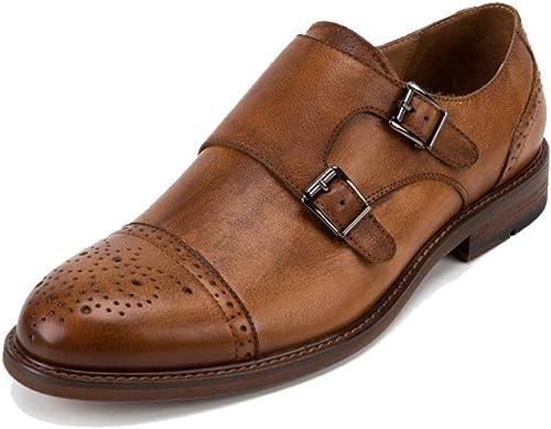 JCZR zapatos De Cuero De Hombre zapatos Casuales Británicos Bullock Doble Hebilla