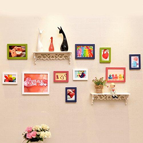 Bilderrahmen*Foto wand Massivholz Rahmenwand kreative Eingebauter Regalwand aus dem Mittelmeerraum Wohnzimmer Restaurant, Weiß, Blau und Pink Grün + haben + Liebe hat einen eingebauten Regal
