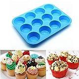 12 tazas de silicona Muffin bandeja de silicona de grado alimenticio Muffin Cup Tray Cake Mold 30x22x3cm DIY Cake Mold