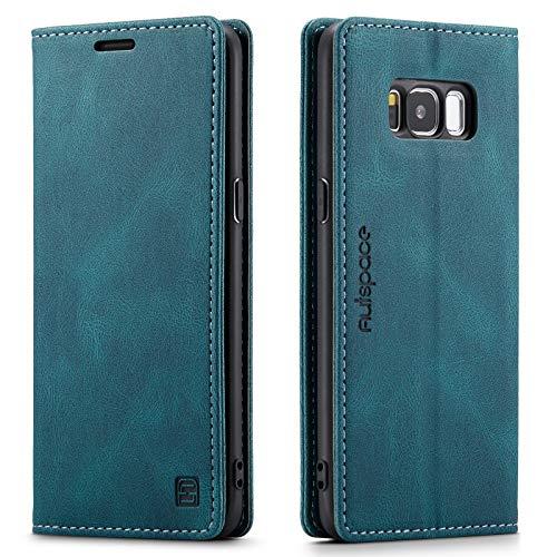 EYZUTAK Funda para Samsung Galaxy S8 Retro Mate Cuero Funda Protectora con Bloqueo RFID Soporte de Visualización Cierre Magnético TPU Shell Flip Cover - Azul