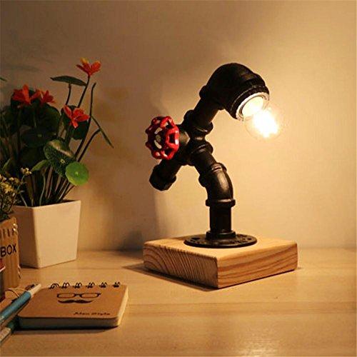 Lampe de Table Industrial Retro Art en bois Tubes d'eau Lampe de table Creative Vintage Desk Light pour salon Chambre Bar Hall Pub Bureaux Café Décoration Lampadaire de toilette, A