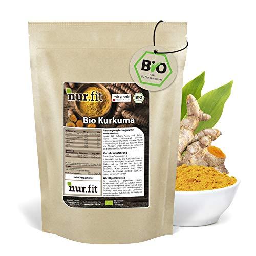 nur.fit by Nurafit BIO Poudre de curcuma 1kg - poudre de racine de curcuma avec 4,3% de curcumine hautement concentrée - poudre de curcuma crue pour smoothies, bols et latte