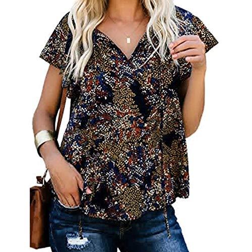 Dwevkeful Tshirt Damen Sommer Oberteile Einfarbig Weste Tunika Kurzarm V-Ausschnitt T-Shirt Casual Lose Kurzshirt Oversize Bluse Tops Tank Top