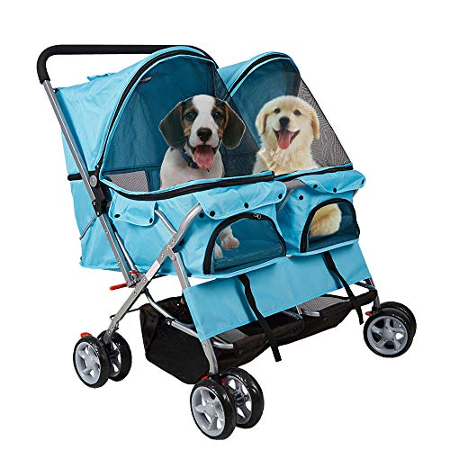 Dporticus Double Pet Stroller Foldable Doggy Stroller Two-Seater Carrier Strolling Cart for Dog Cat...