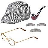 Haichen Old Man Disfraz Accesorios Hombres Newsboy Cap Ivy Hat Disfraz Gafas Pipa de Tabaco Bigote y Cejas Set Abuelo Outfit Accesorios (Gris Claro)