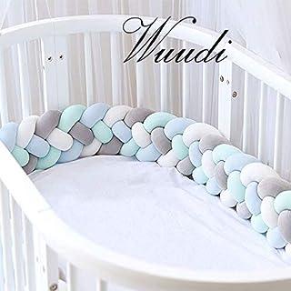 Wuudi Bettumrandung Kantenschutz Kopfschutz für Baby-/Kinderbett Geflochtene Stoßfänger Baby Nestchen Bettschlange 2,2m weißgraublaugrün