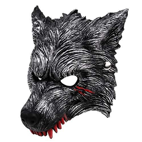 KOHMUI Halloween Werewolf Maske mit Blutflecken, lebendiges Werewolf Mask für Halloween Kostüm Cosplay Karneval Party, dunkelgraues