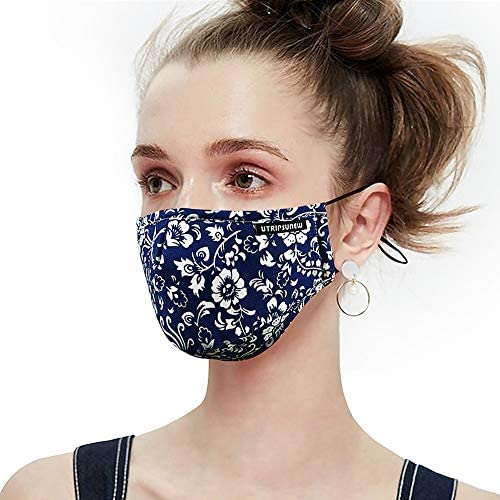 Cotton Face Mask Washable and Reusable Anti-Fog Dust-Proof Mouth Cover Protection with Filter Pocket Safety Mask