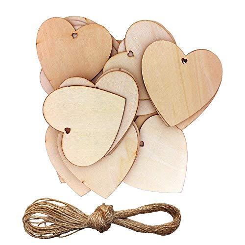 Kurtzy Cuori Legno - 10 x 10 cm Incompiuto A Forma di Cuore Abbellimenti in Legno con Fori per Artigianato, Prenotazione di Rottami e Decorazioni per Matrimoni con 10m Naturale Filo (50 Pack)