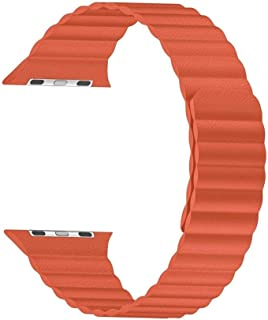 Robotekno Apple Watch Deri Kordon 38mm 40mm, Manyetik Deri Kayış, Seri 1 | 2 | 3 | 4 | 5 (38mm/40mm, TURUNCU)