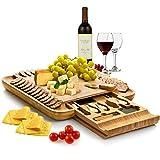 Bambüsi Premium Bamboo Cheese Board - Charcuterie Serving Board Platter and Knife Set with Hidden...