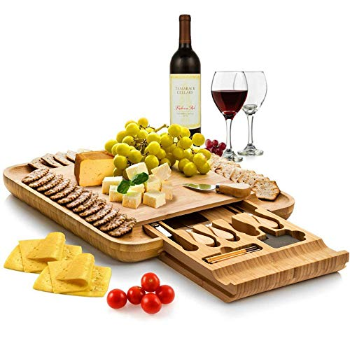 Bambüsi Premium Bamboo Cheese Board - Charcuterie Serving Board Platter and Knife Set with Hidden Slid-Out Drawer - Perfect Choice for Mothers Day, Housewarming, Bridal Shower, Wedding Gift