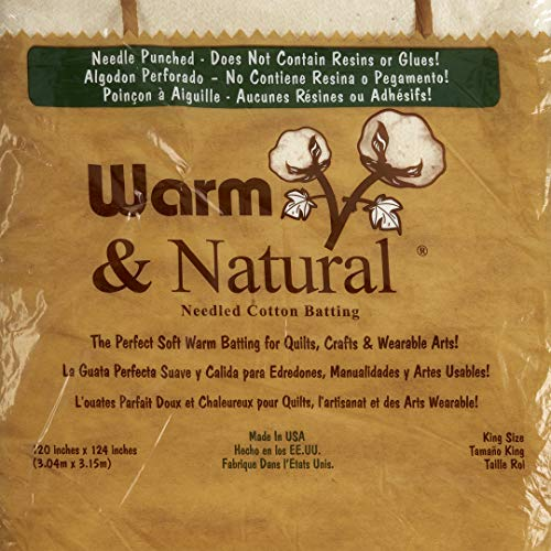 Warm Company Batting 120-Inch by 124-Inch Warm and Natural Cotton Batting, King